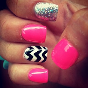 Chevron and Glitter Nails