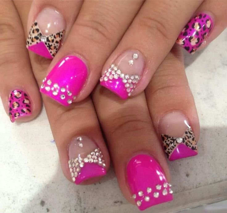 rhinestone nail art designs 10 10 Beautiful Rhinestone Nail Art Designs