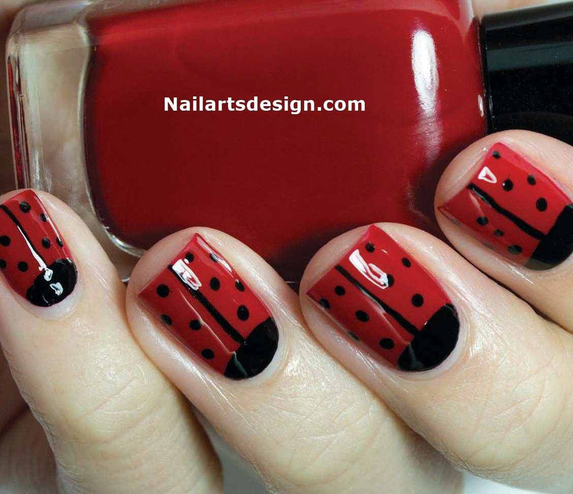 Ladybug Nail Art And Butterfly Gradient Nail Design