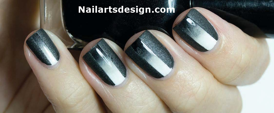 Black And White Gradient Nails Nail Art 213 Black And White