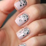 Triangle Tips With Rhinestone Nail Art