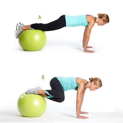 Stability ball knee tuck for Belly Fat