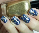 Blue, Silver, And Gold Polka Dot Design