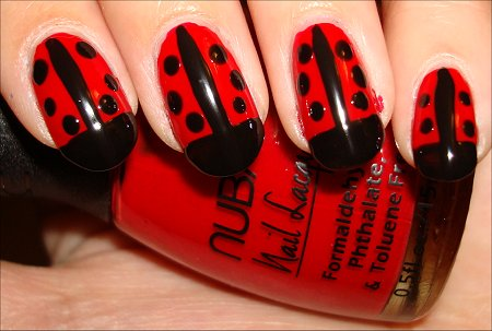 ladybug nail art 3 Today Nail Art Ladybug and White Nail Design