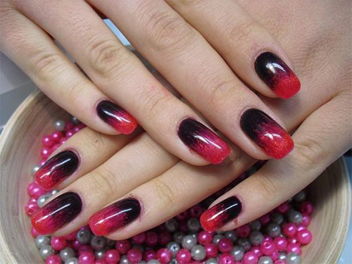 Black Red Gel Nail Art Design Simple and beautiful Red color nail art designs