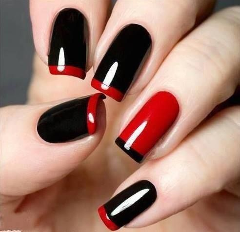 red black nail art design3 Simple and beautiful Red color nail art designs