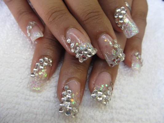 Image result for Rhinestone French Tip Nail Art